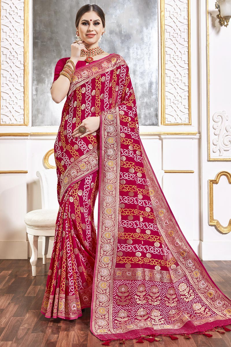 Rani Color Function Wear Viscose Fabric Trendy Weaving Work Saree