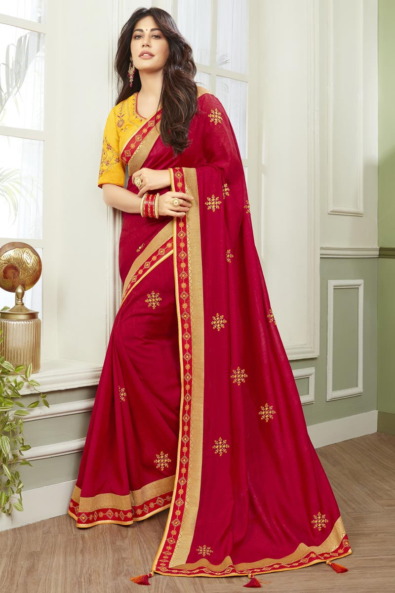 Chitrangada Singh Party Wear Red Color Fancy Fabric Embroidered Saree