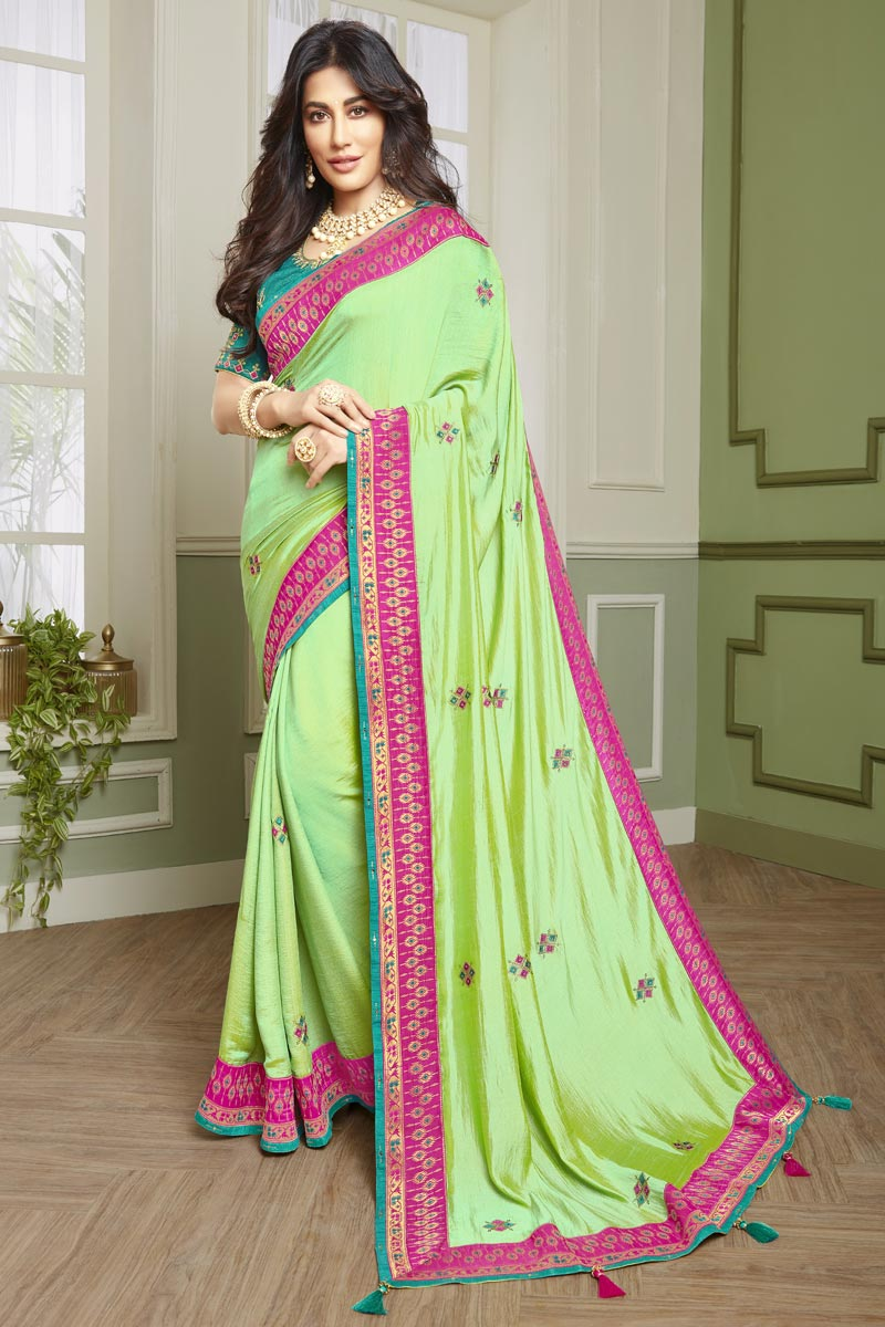 Chitrangada Singh Sangeet Wear Fancy Fabric Embroidered Saree In Sea Green Color