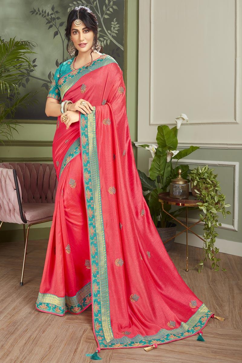 Chitrangada Singh Pink Color Wedding Wear Fancy Fabric Embroidered Saree