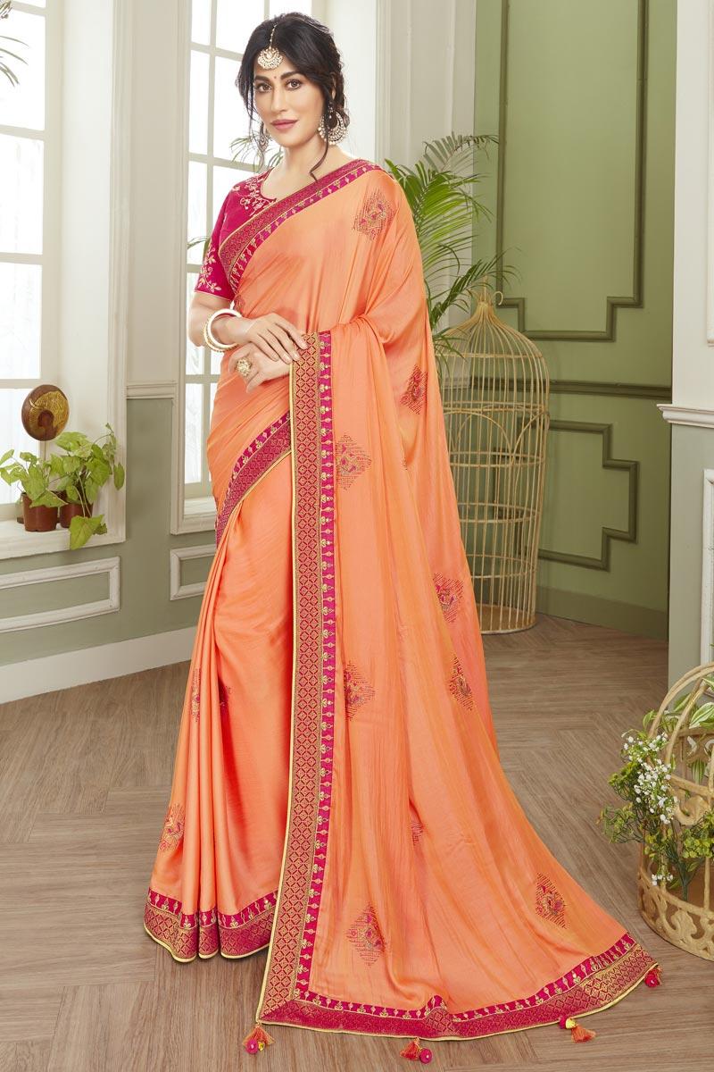 Chitrangada Singh Fancy Fabric Reception Wear Peach Color Embroidered Saree