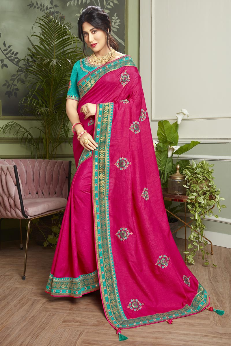 Chitrangada Singh Rani Color Puja Wear Fancy Fabric Embroidered Saree