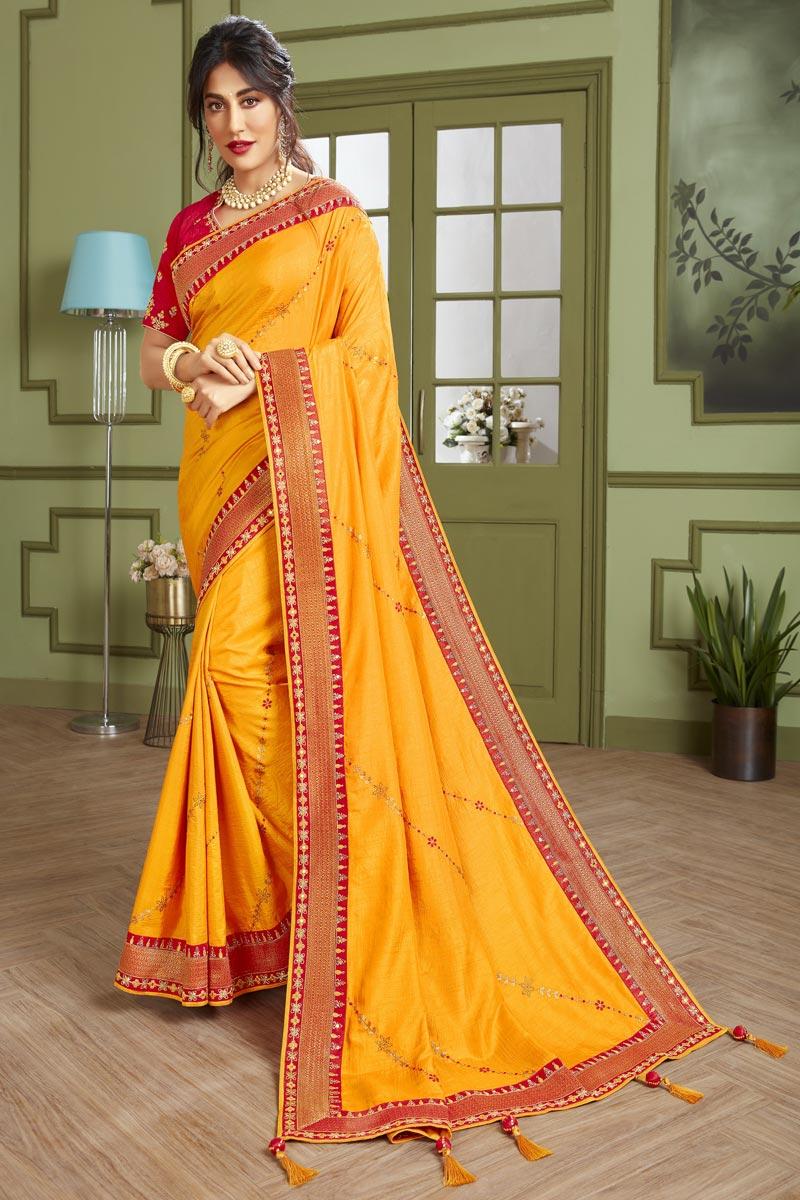 Chitrangada Singh Festive Wear Yellow Color Fancy Fabric Embroidered Saree