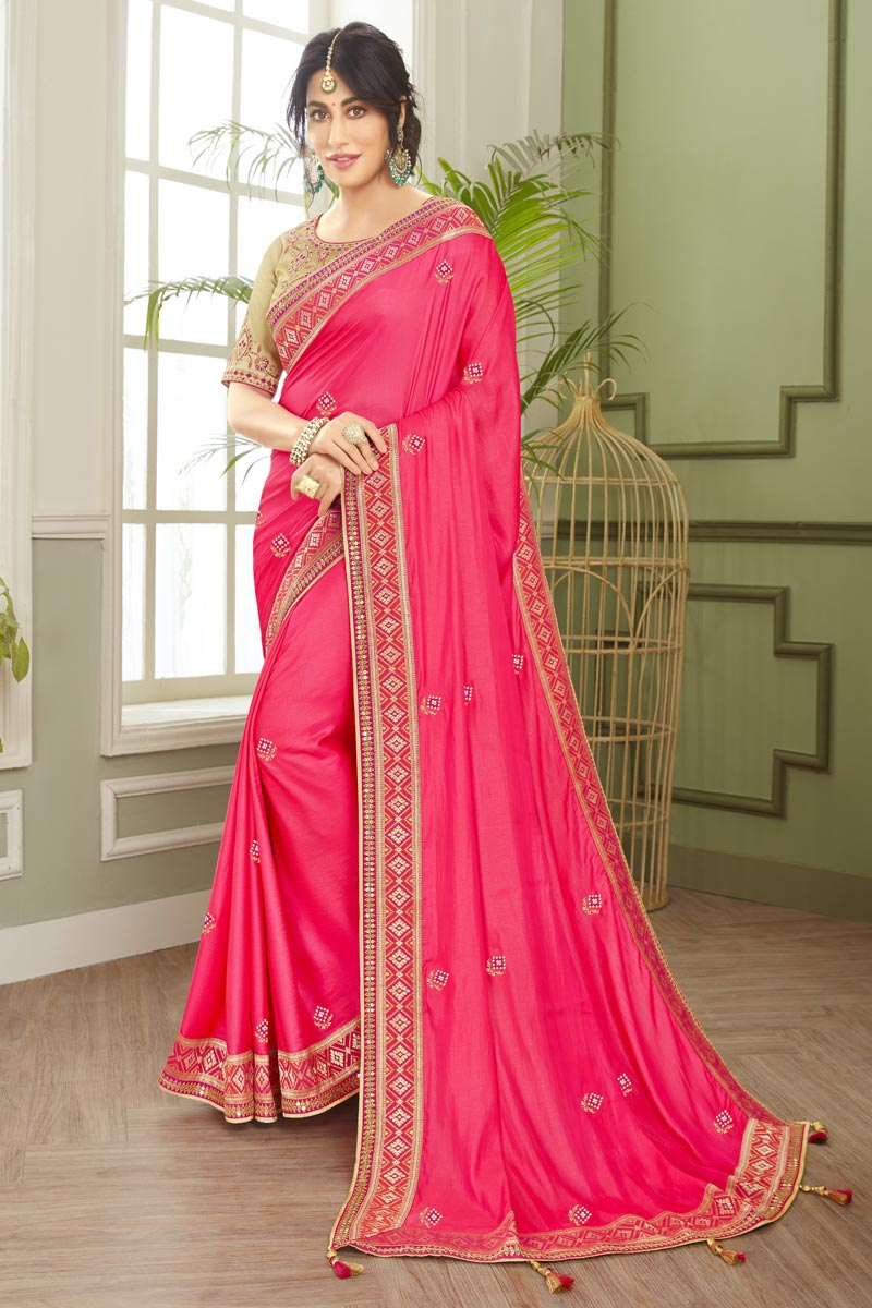 Chitrangada Singh Party Wear Fancy Fabric Embroidered Saree In Pink Color