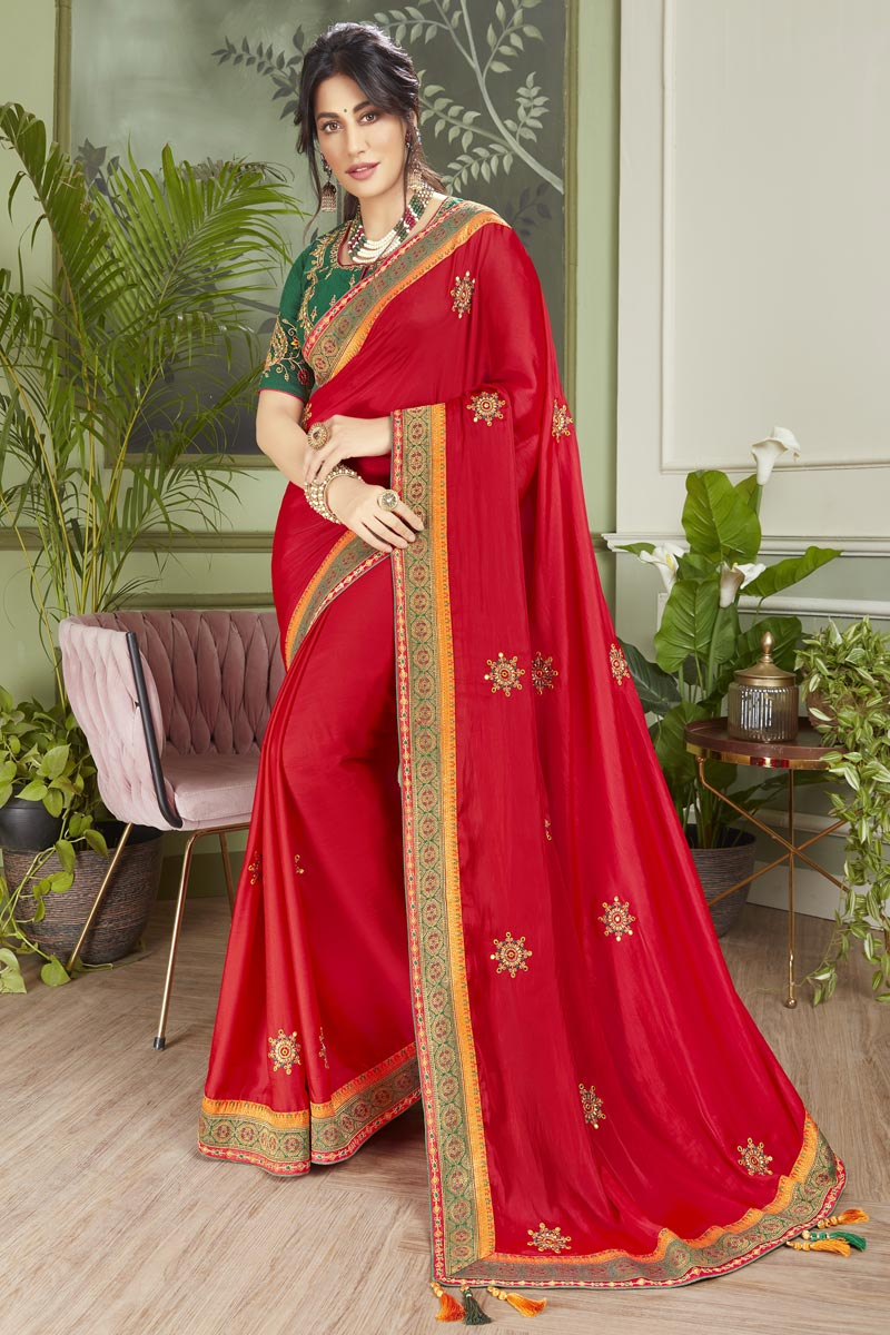 Chitrangada Singh Red Color Sangeet Wear Fancy Fabric Embroidered Saree
