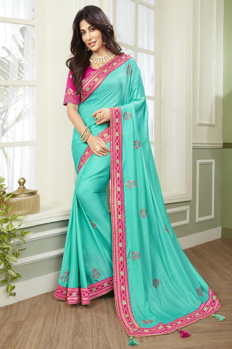 Chitrangada Singh Cyan Color Fancy Fabric Embroidered Function Wear Saree
