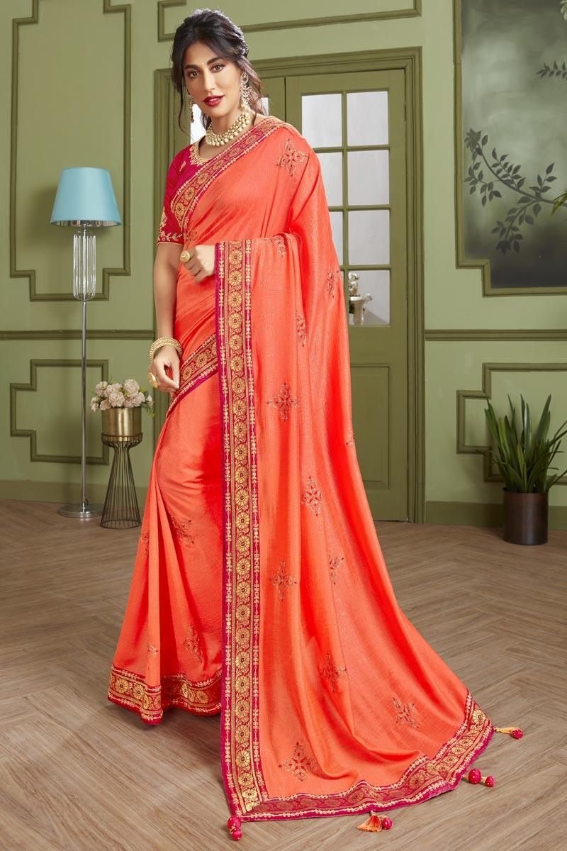 Chitrangada Singh Fancy Fabric Stylish Embroidered Festive Wear Saree In Peach Color