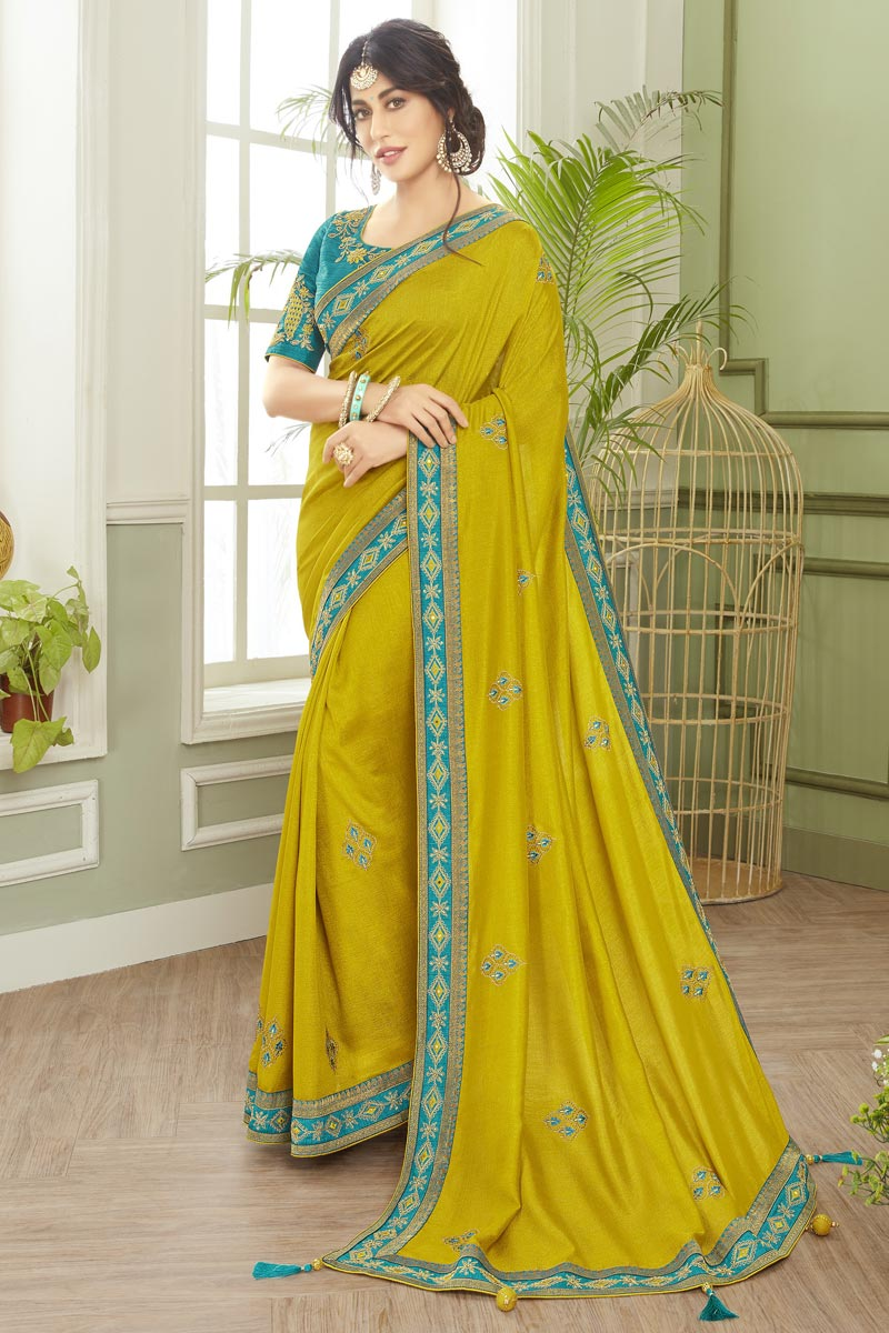 Chitrangada Singh Embroidered Party Wear Trendy Saree In Green Color Fancy Fabric