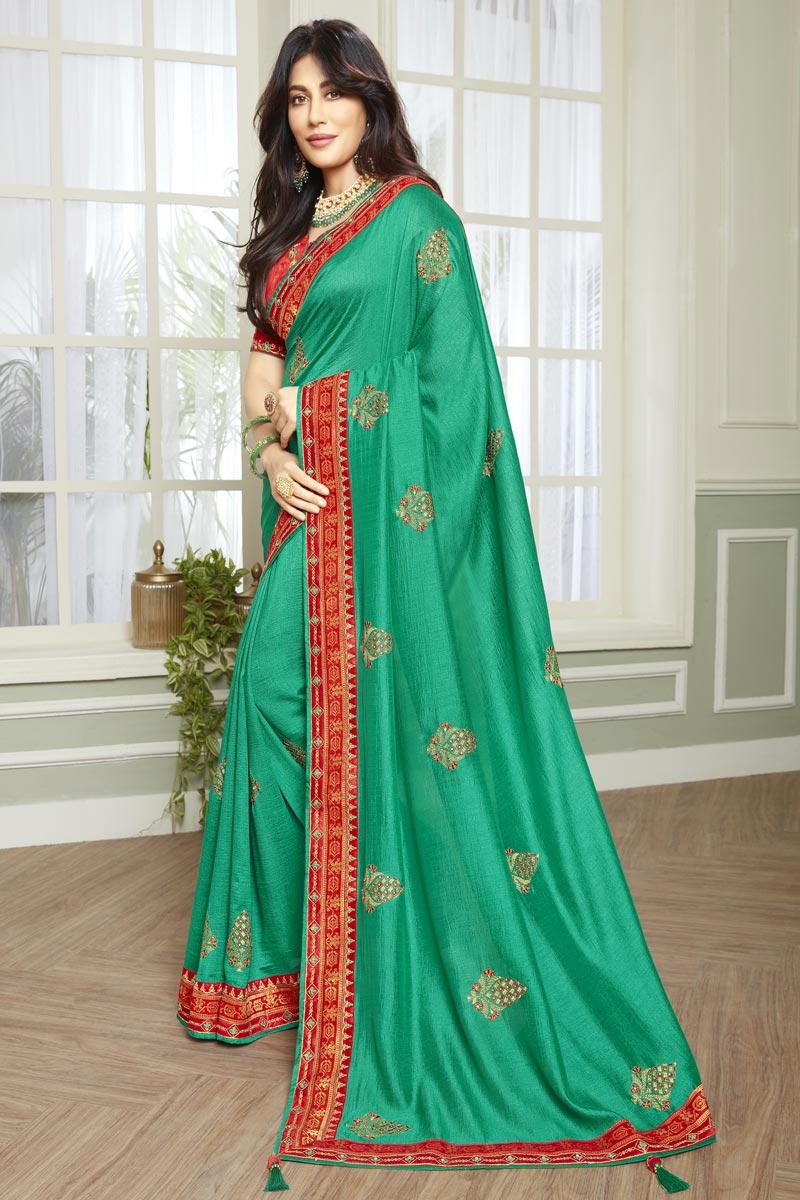 Chitrangada Singh Fancy Fabric Cyan Color Designer Embroidered Sangeet Wear Saree