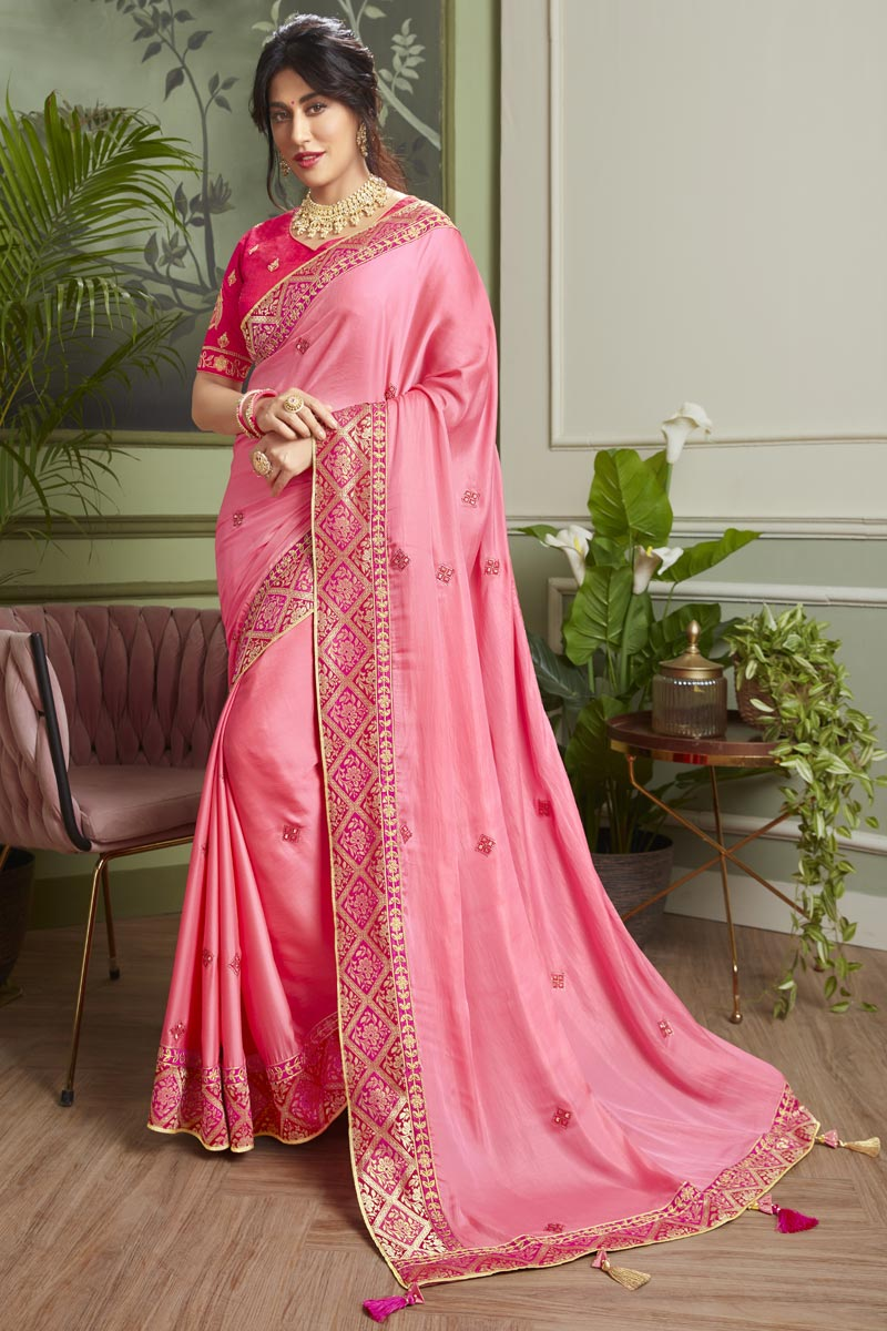 Chitrangada Singh Embroidered Pink Color Wedding Wear Fancy Fabric Saree