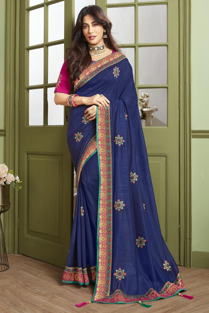 Chitrangada Singh Reception Wear Fancy Fabric Embroidered Navy Blue Saree