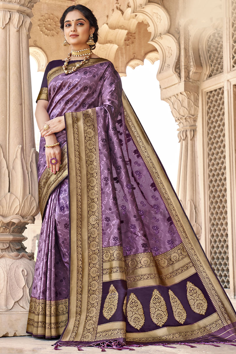 Party Wear Art Silk Fabric Weaving Work Saree In Lavender Color
