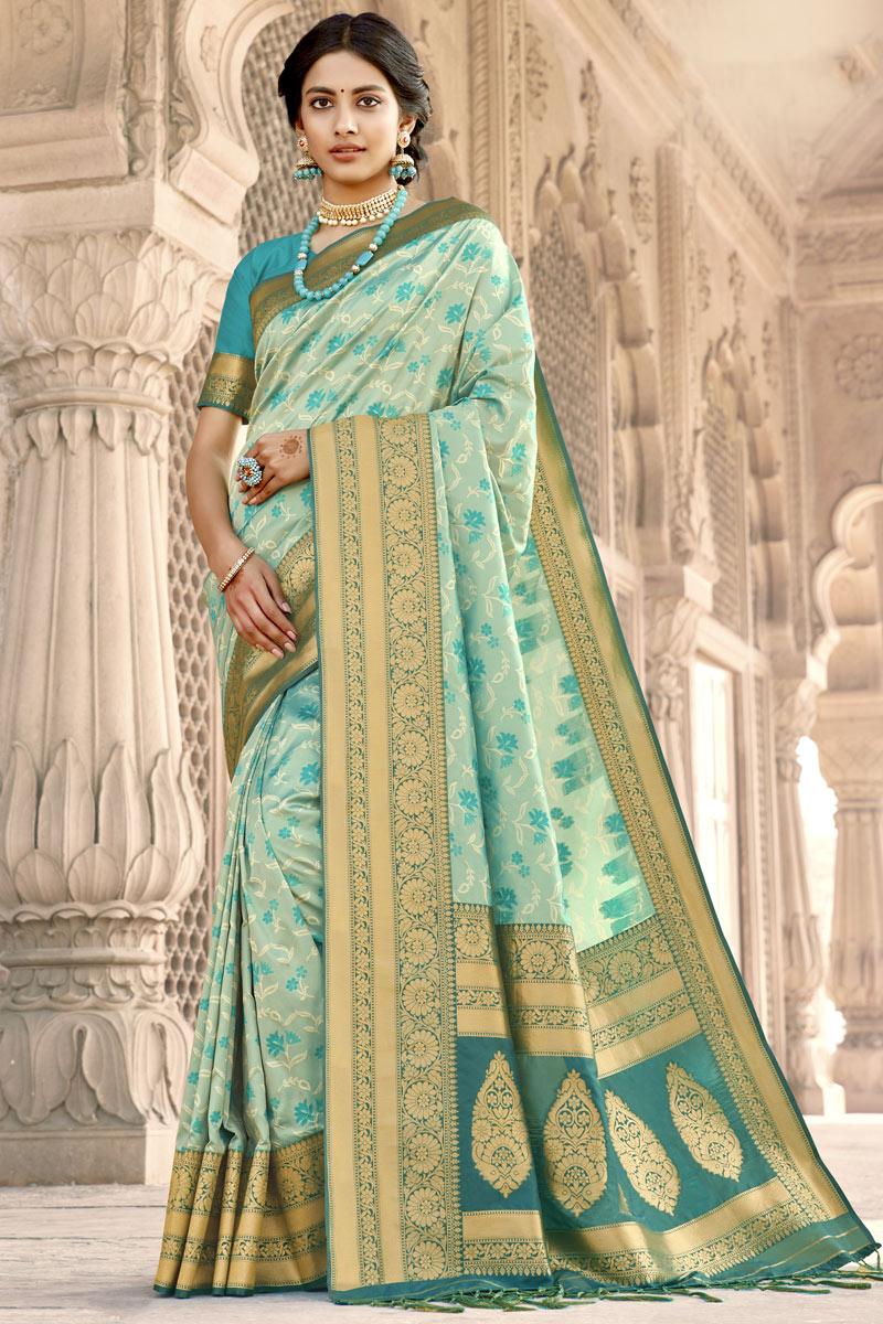 Art Silk Fabric Party Wear Light Cyan Color Weaving Work Saree