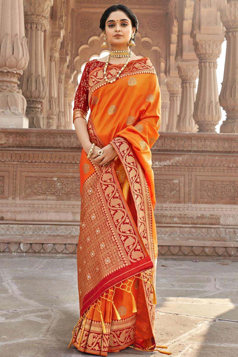 Orange Color Weaving Work Festive Wear Saree In Art Silk Fabric