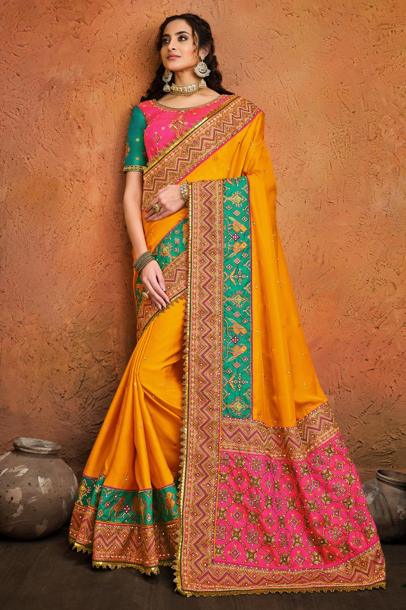 Fancy Satin Fabric Puja Wear Mustard Color Embroidery Work Saree