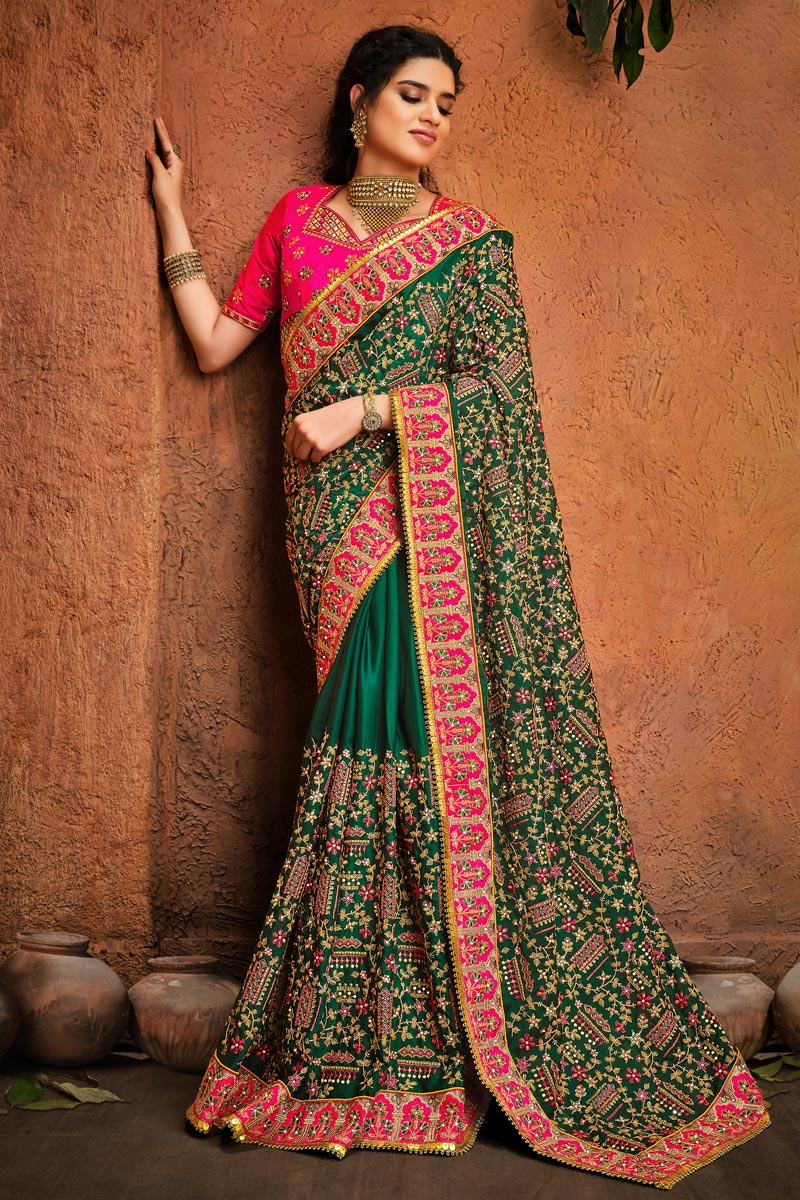 Fancy Satin Fabric Function Wear Green Color Embroidery Work Saree