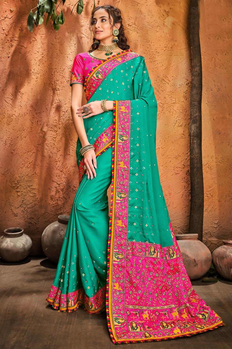 Function Wear Cyan Color Fancy Art Silk Fabric Embroidery Work Saree