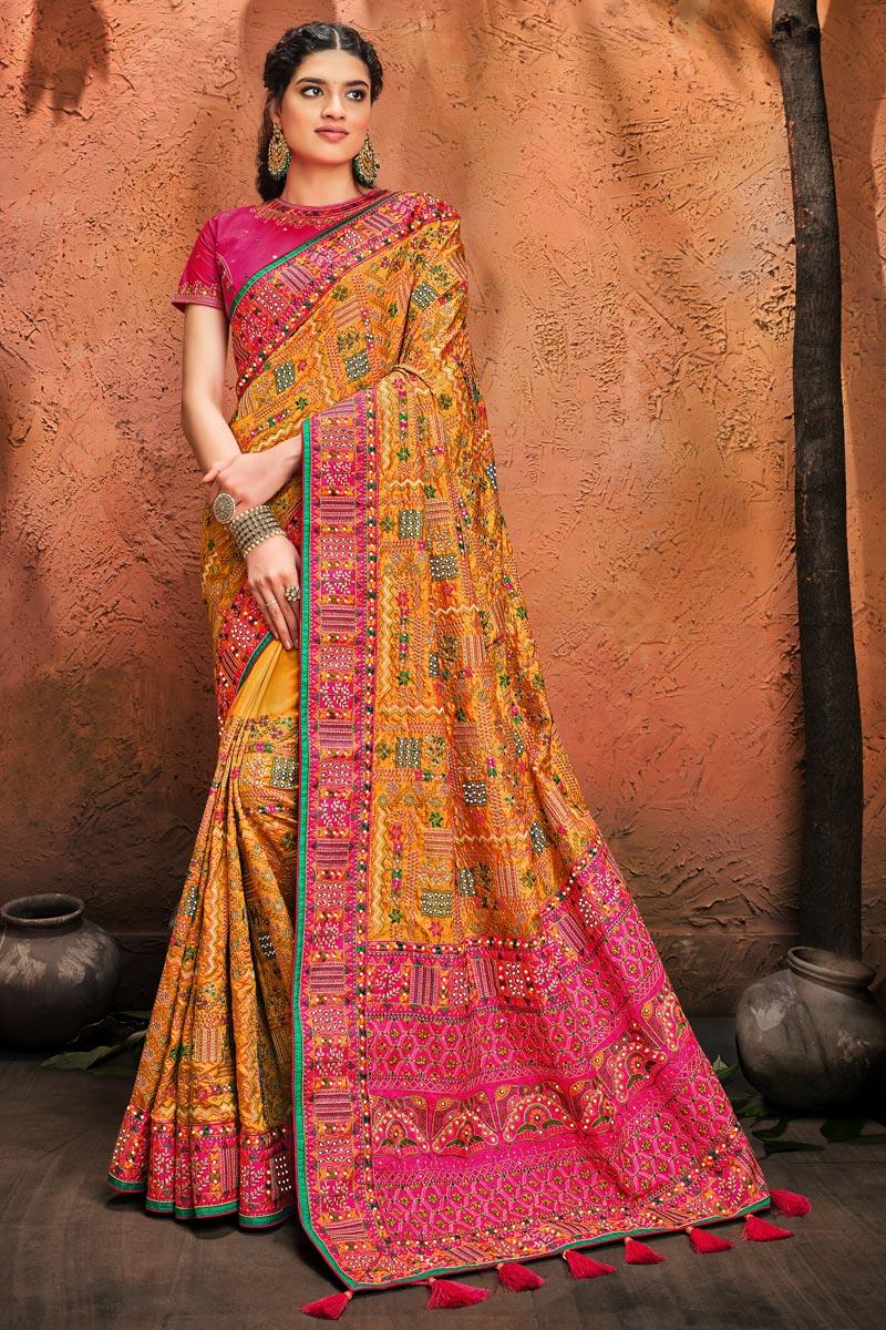 Festive Wear Banarasi Silk Fabric Fancy Embroidery Work Saree In Yellow Color