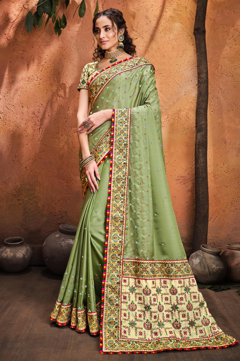 Sea Green Color Festive Wear Satin Fabric Fancy Embroidery Work Saree