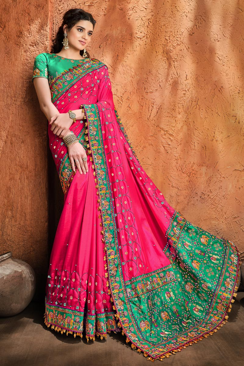 Satin Fabric Party Wear Rani Color Fancy Embroidery Work Saree