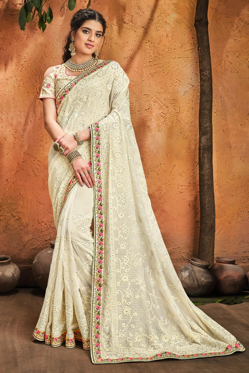 Off White Color Party Wear Georgette Fabric Fancy Embroidery Work Saree