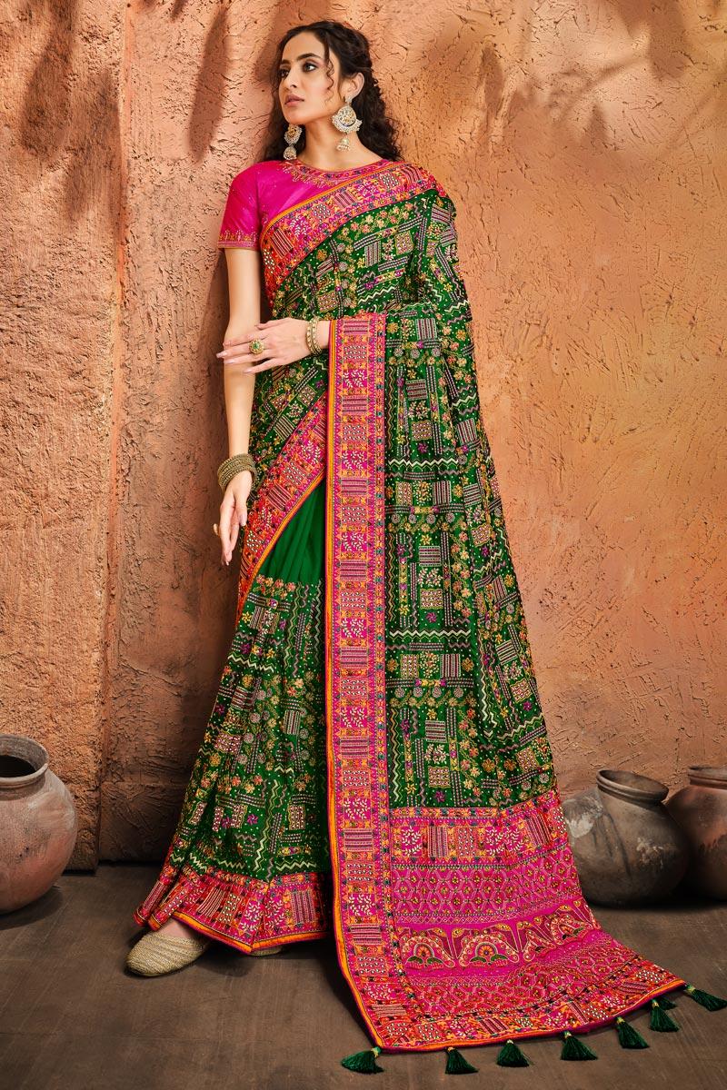 Banarasi Silk Fabric Sangeet Wear Green Color Embroidery Work Fancy Saree