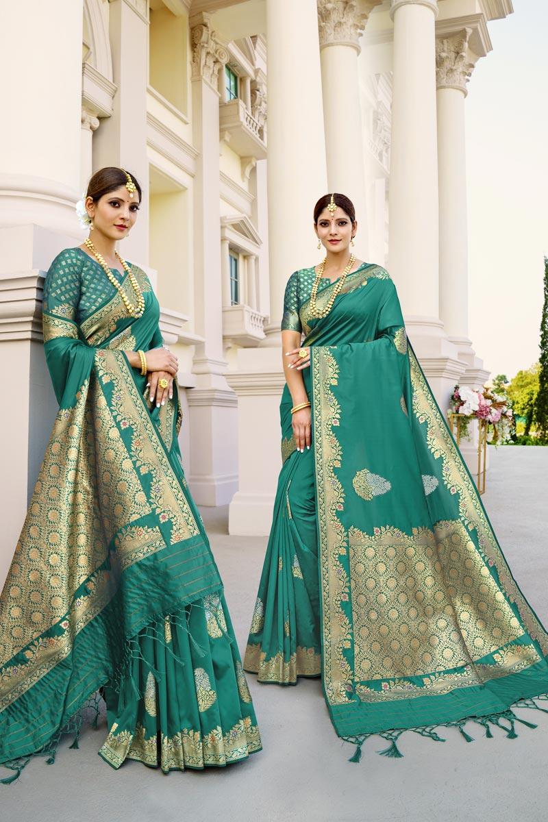 Fancy Art Silk Fabric Puja Wear Cyan Color Weaving Work Saree