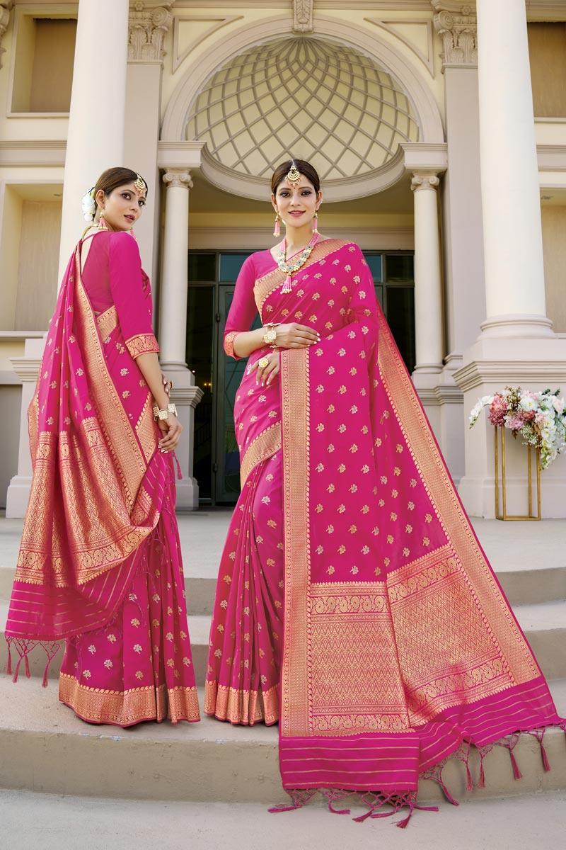 Rani Color Sangeet Wear Fancy Art Silk Fabric Weaving Work Saree