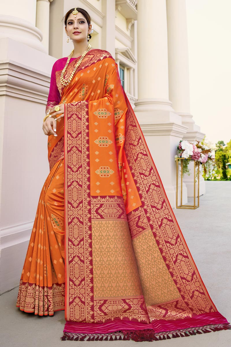Fancy Art Silk Fabric Function Wear Orange Color Weaving Work Saree