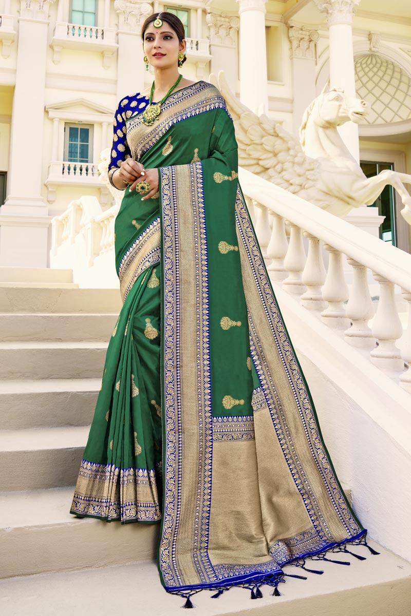 Function Wear Green Color Fancy Art Silk Fabric Weaving Work Saree