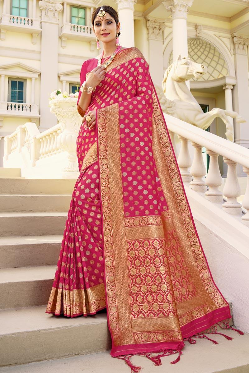 Sangeet Wear Art Silk Fabric Weaving Work Saree In Rani Color