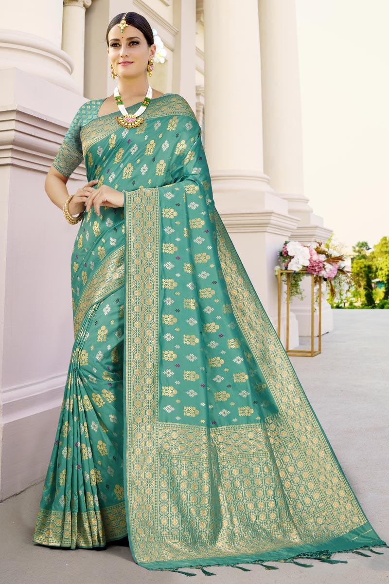 Sea Green Color Reception Wear Art Silk Fabric Fancy Weaving Work Saree