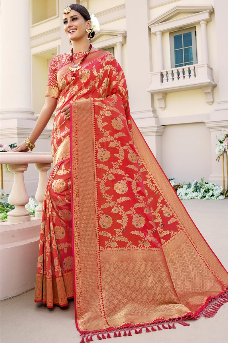 Art Silk Fabric Party Wear Red Color Fancy Weaving Work Saree