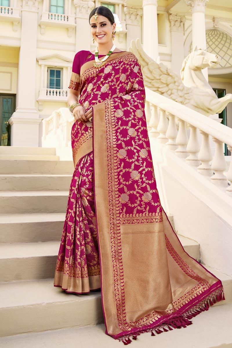 Dark Pink Color Party Wear Art Silk Fabric Fancy Weaving Work Saree