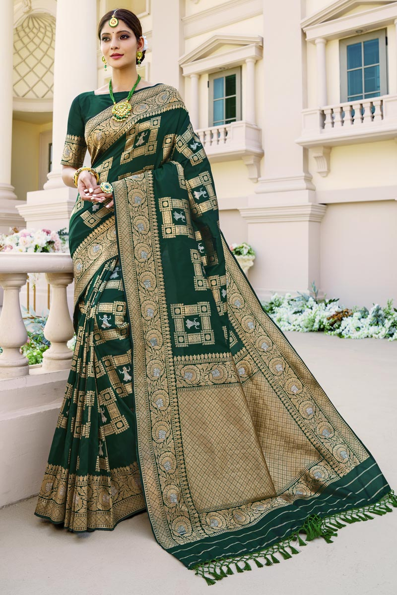 Art Silk Fabric Sangeet Wear Dark Green Color Weaving Work Fancy Saree