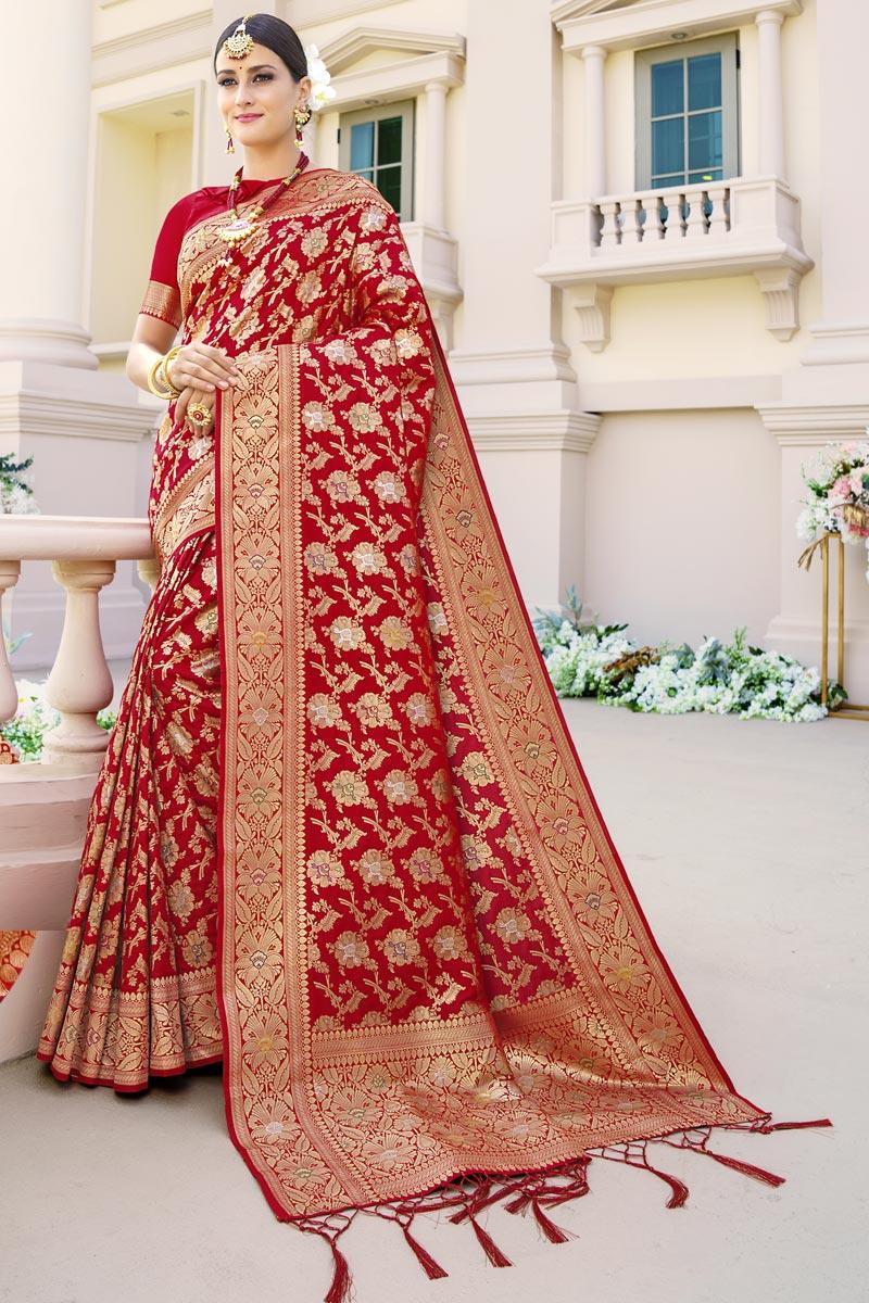 Sangeet Wear Red Color Art Silk Fabric Weaving Work Fancy Saree