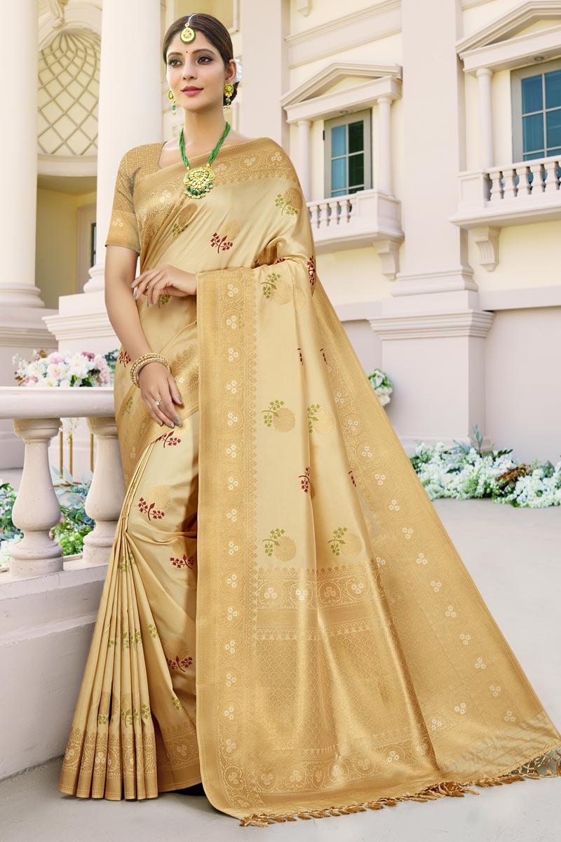 Wedding Wear Art Silk Fabric Weaving Work Fancy Saree In Beige Color