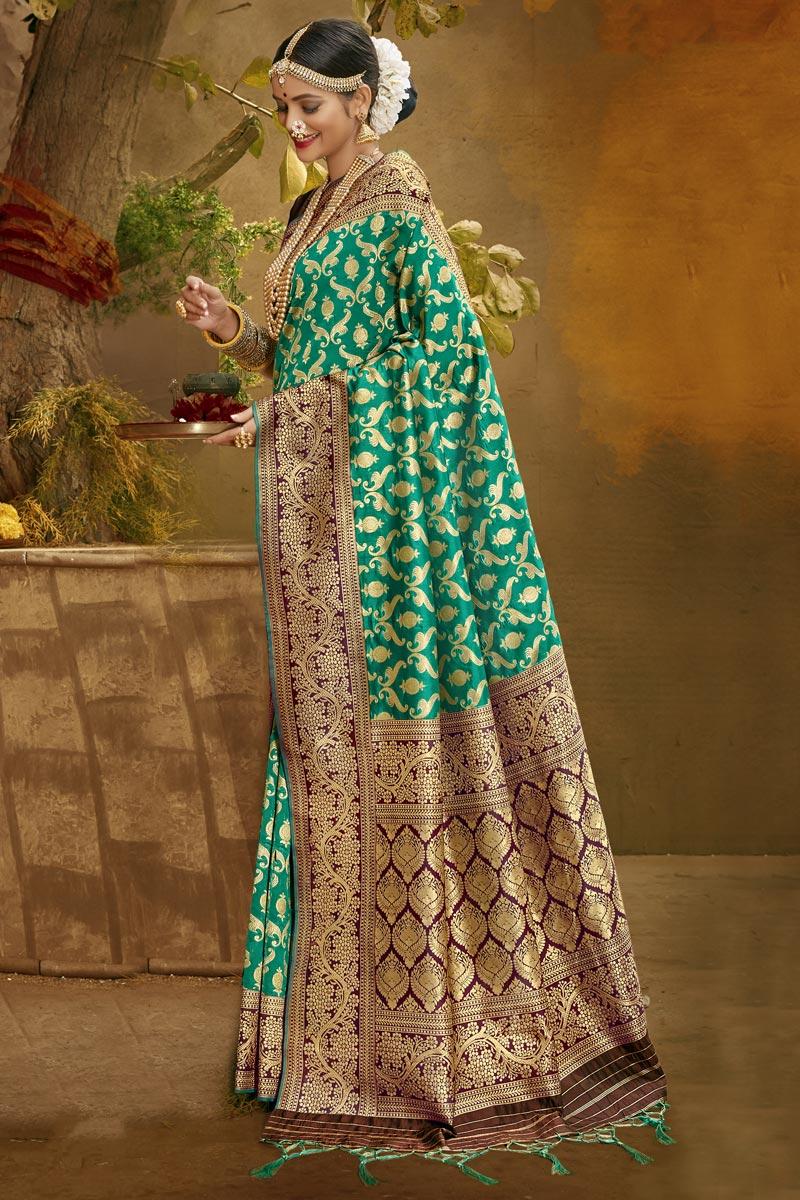 Cyan Color Sangeet Wear Fancy Art Silk Fabric Weaving Work Saree