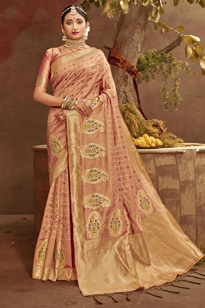 Wedding Wear Art Silk Fabric Fancy Weaving Work Saree In Peach Color