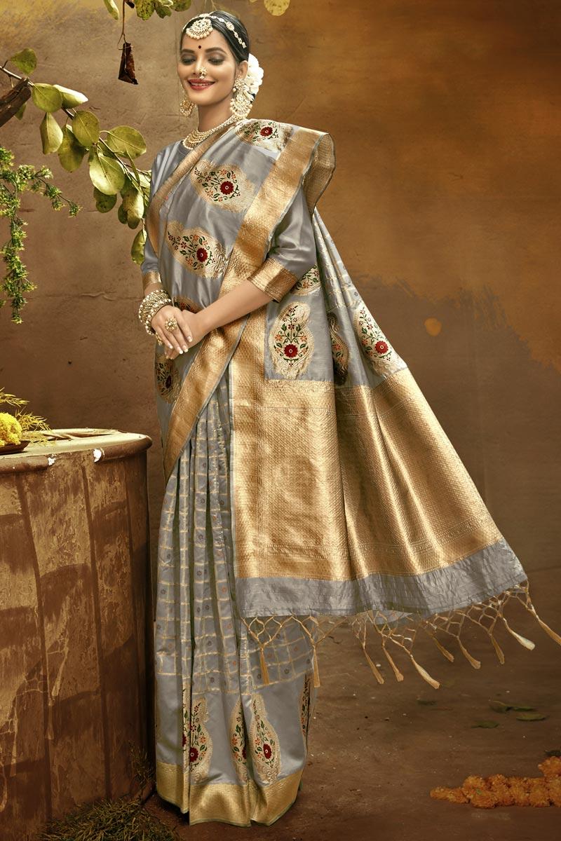 Grey Color Sangeet Wear Art Silk Fabric Fancy Weaving Work Saree