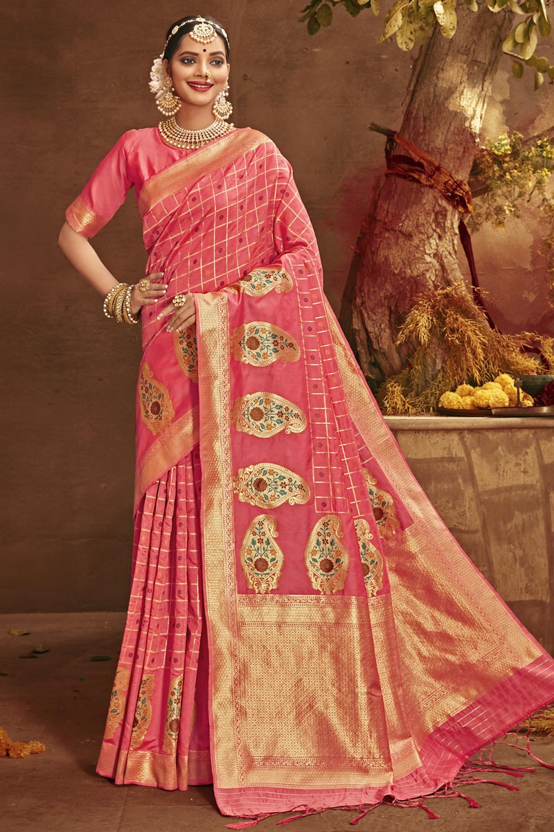 Pink Color Party Wear Art Silk Fabric Fancy Weaving Work Saree