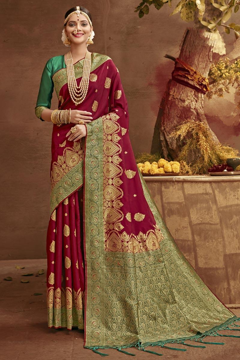 Wedding Wear Art Silk Fabric Weaving Work Fancy Saree In Maroon Color