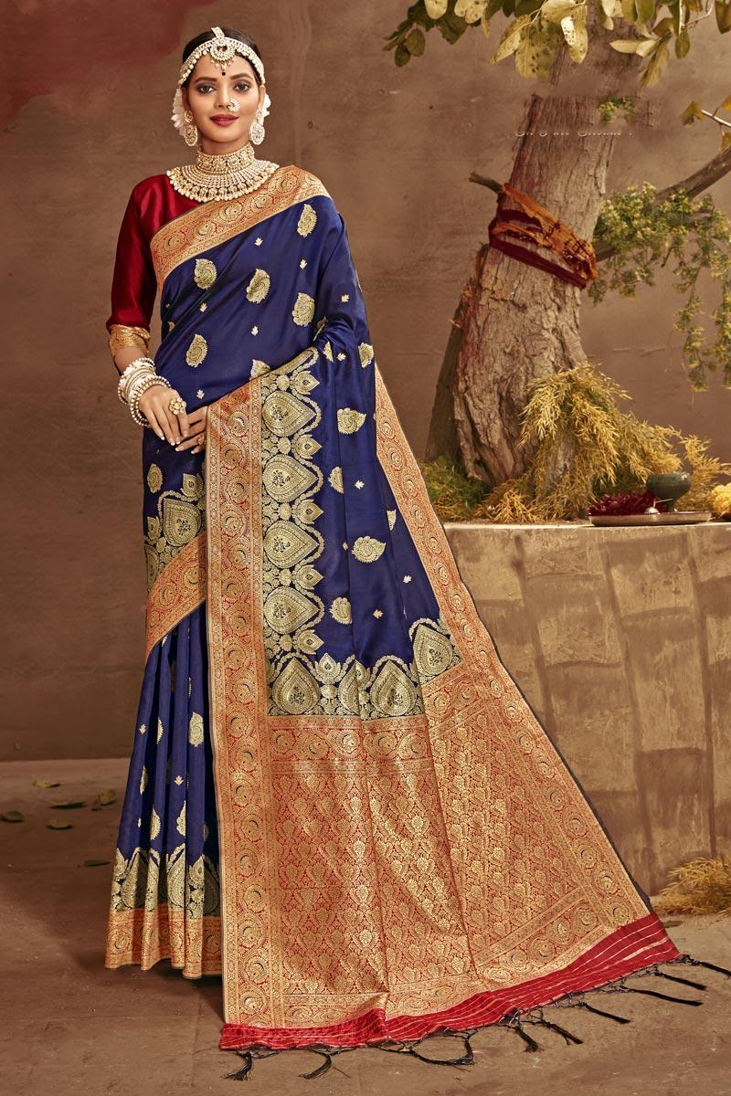 Navy Blue Color Reception Wear Art Silk Fabric Weaving Work Fancy Saree