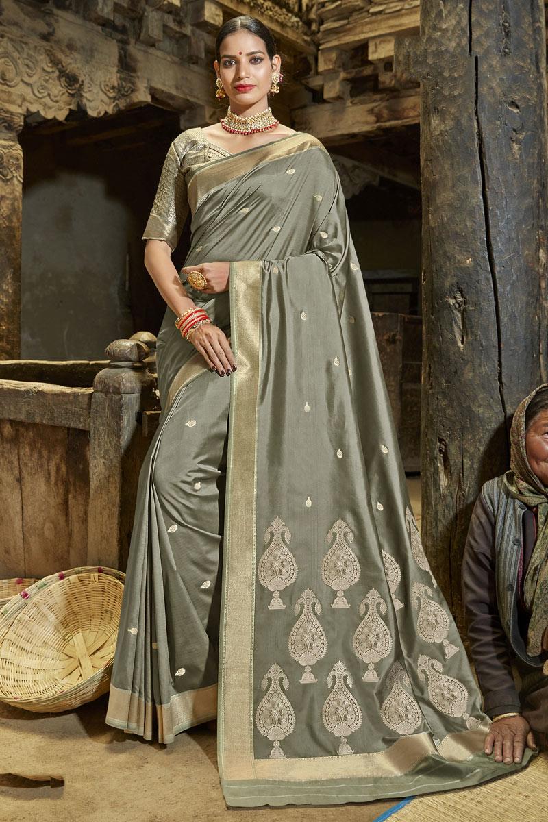 Weaving Work On Dark Beige Color Designer Saree In Banarasi Silk Fabric