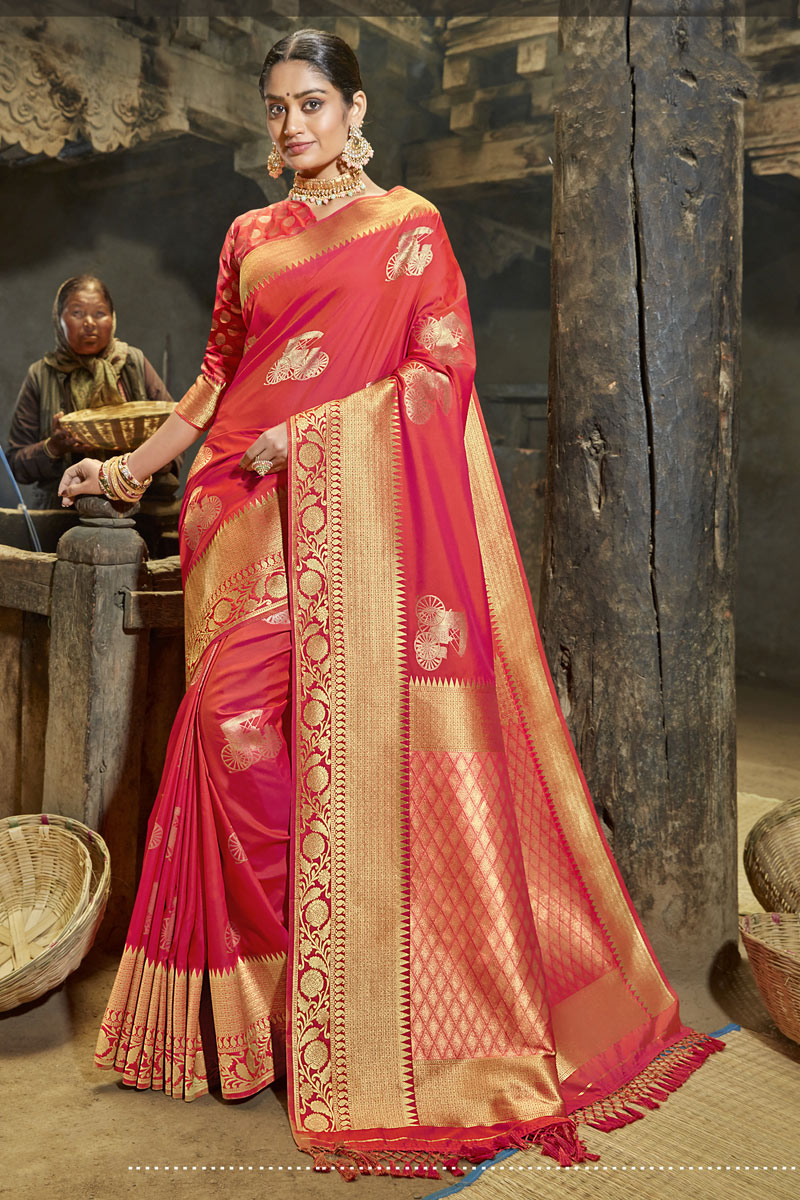 Banarasi Silk Fabric Party Wear Saree In Pink Color With Weaving Work