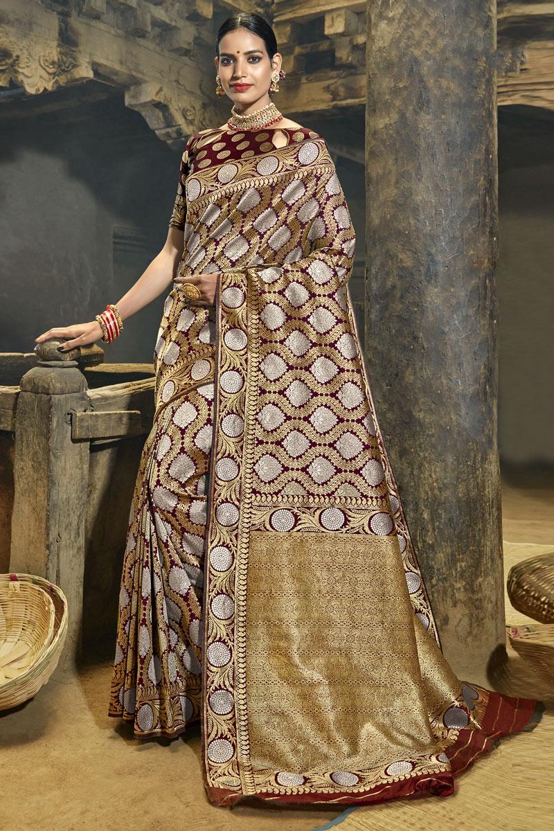 Weaving Work Banarasi Silk Fabric Dark Beige Color Fancy Designer Saree