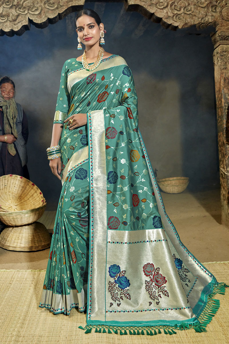 Weaving Work Designer Light Turquoise Color Saree