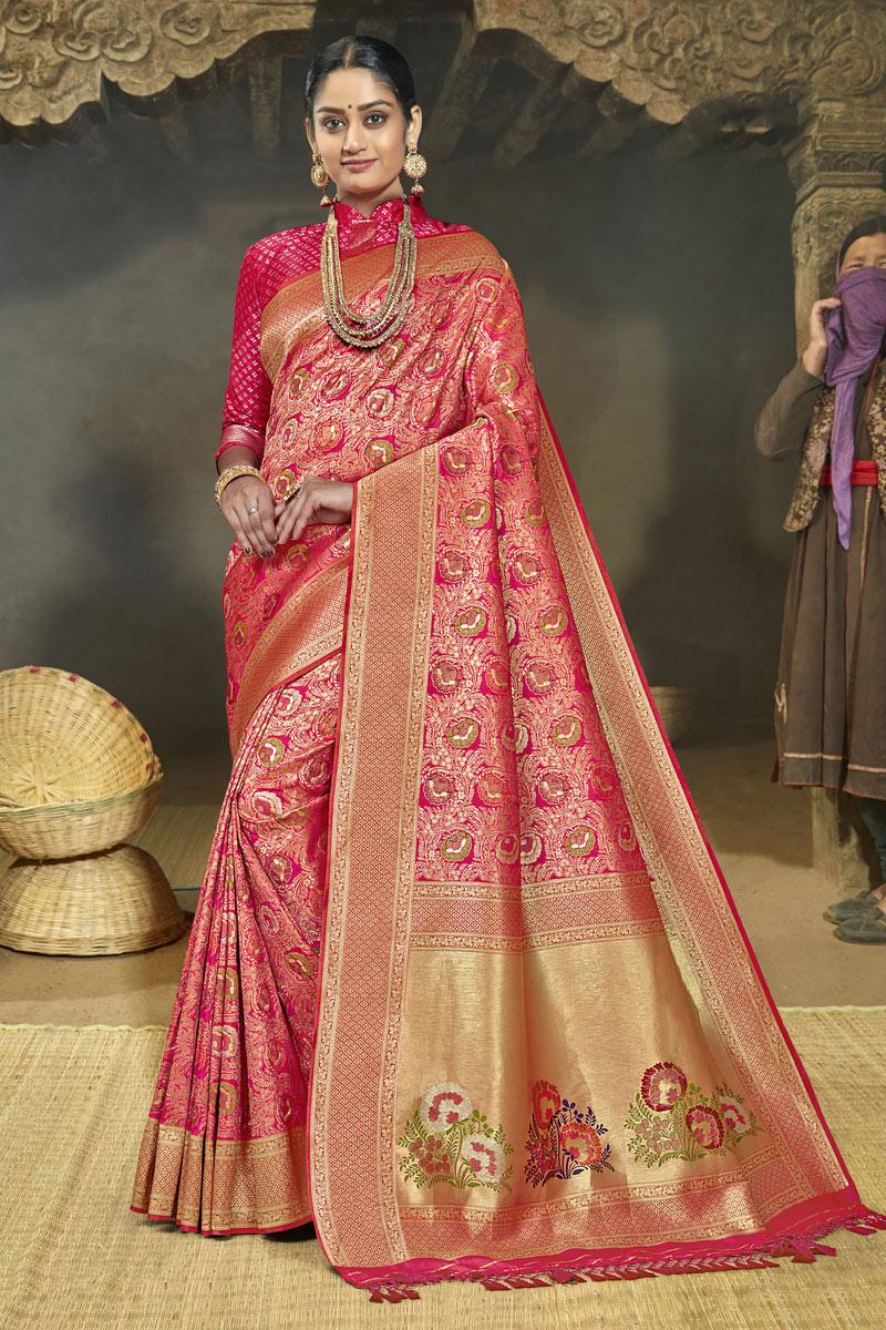 Weaving Work Banarasi Silk Fabric Designer Saree In Dark Pink Color