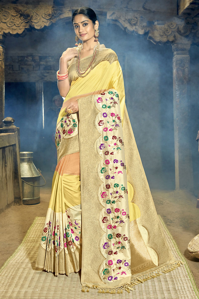 Yellow Color Weaving Work Designer Saree In Banarasi Silk Fabric