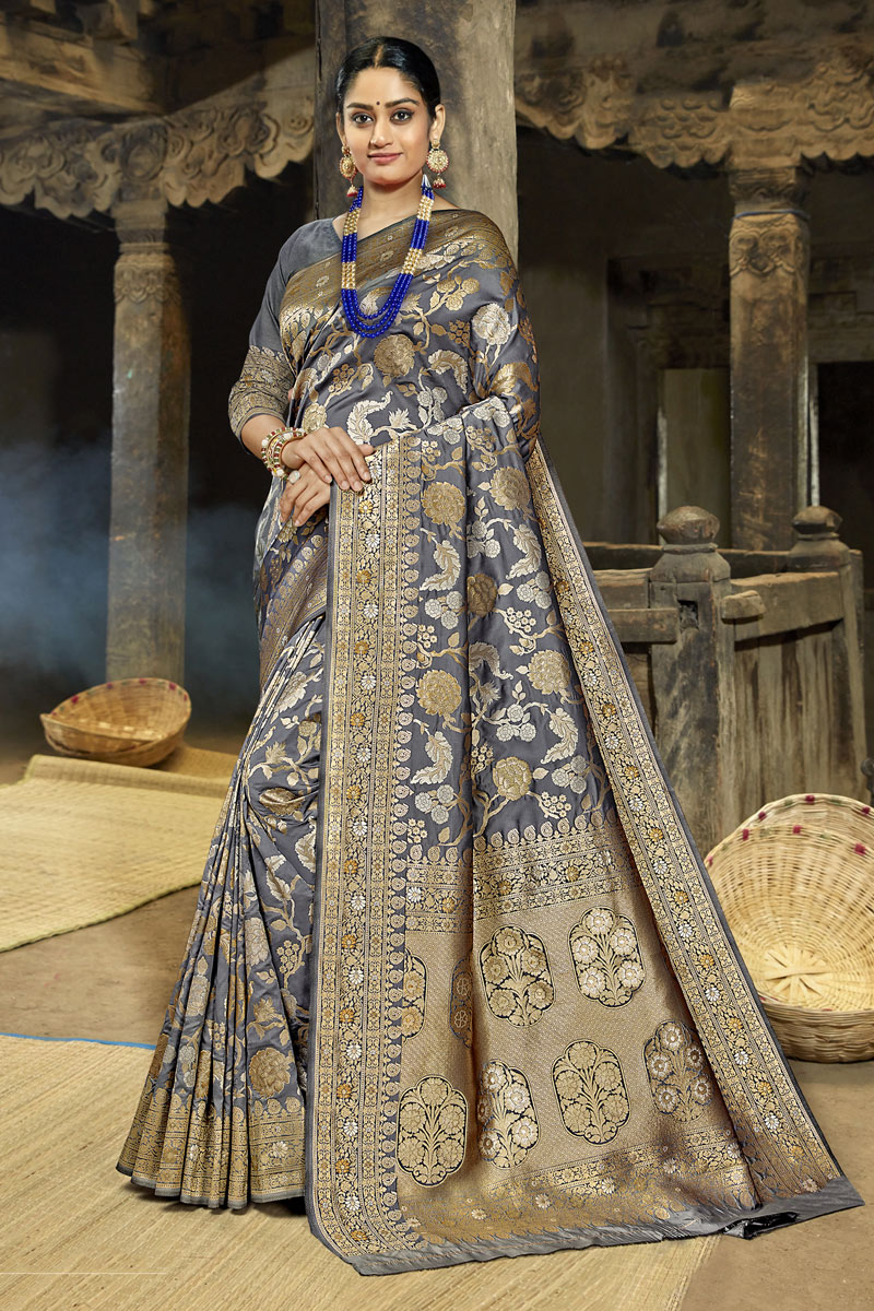 Weaving Work Grey Color Saree In Banarasi Silk Fabric